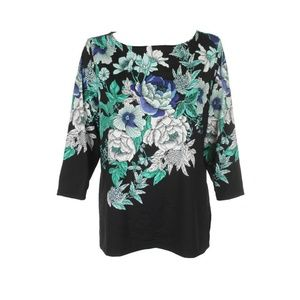 Charter Club Plus Size Black Multi 3/4-Sleeve Top